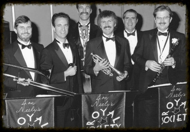 Don Neely's Royal Society Six. They played in the Fairmont Hotel five nights a week in the New Orleans Room. Left to right: John Hunt, Bing Nathan, Tony Marcus, Bob Schulz, Jim Maihack, Don Neely.