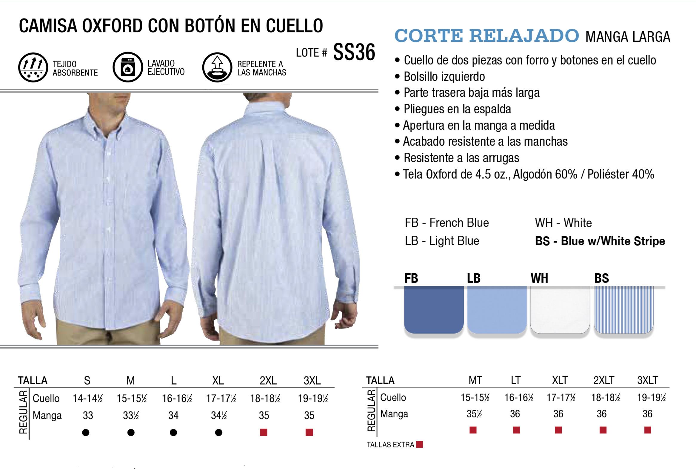 Camisa Oxford con botón en cuello. Manga Larga. SS36