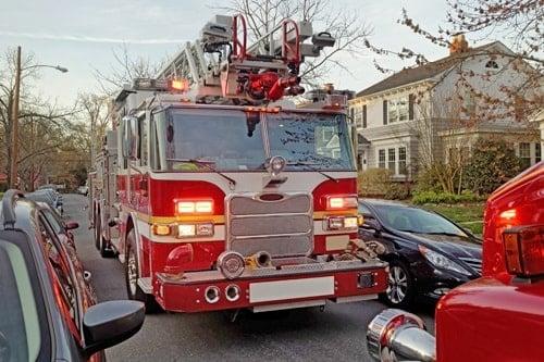 Dusk Residential Neighborhood Fire Emergency