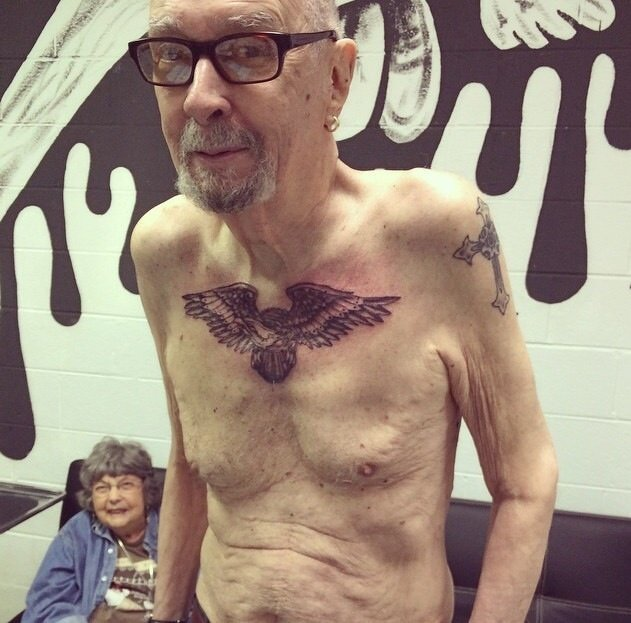 Elderly Man With Tattoos