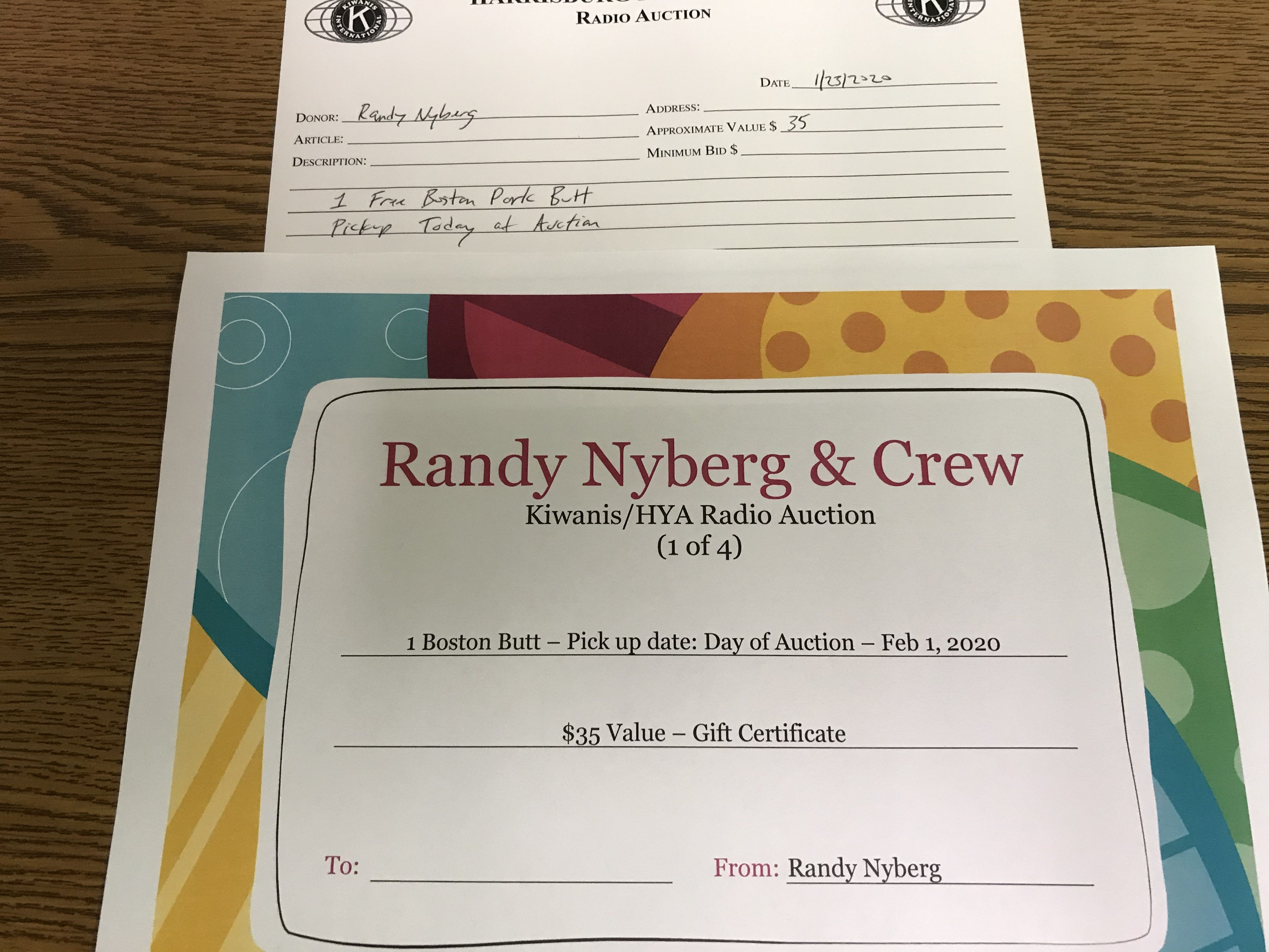 Item 105 - Randy Nyberg 1 Free Pork Butt (available for pickup the day of the Auction)