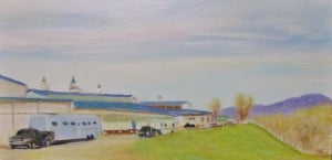 7. Virginia Horse Center, from I-64, 6x12 oil on panel