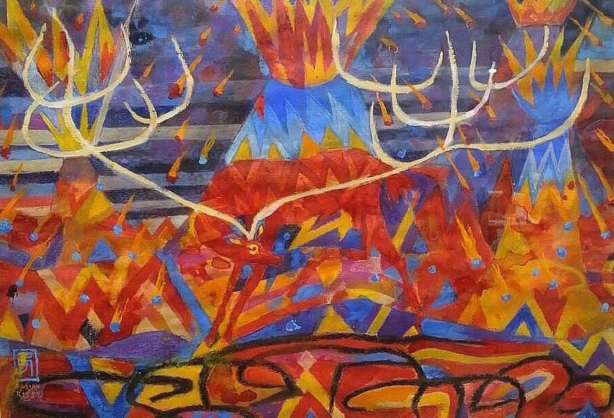 Entre Volcanes Gouache, óleo, pastel y tinta 32 x 46.5 cms.