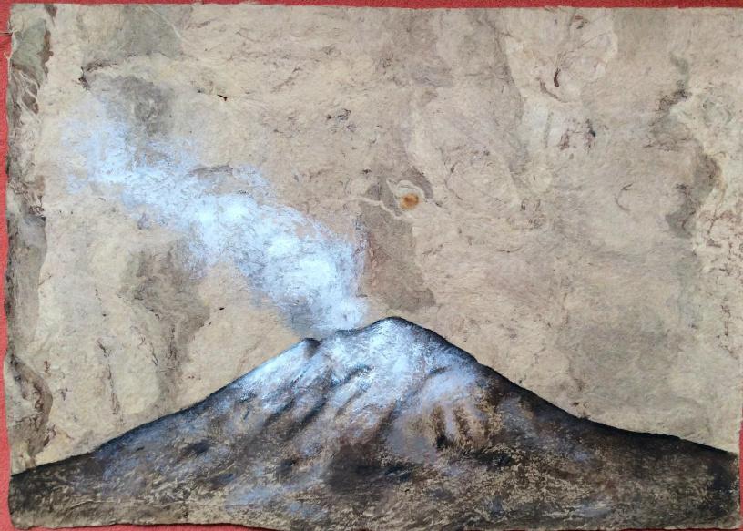Popocatépetl Gouache sobre papel amate 8 x 11 pulgadas