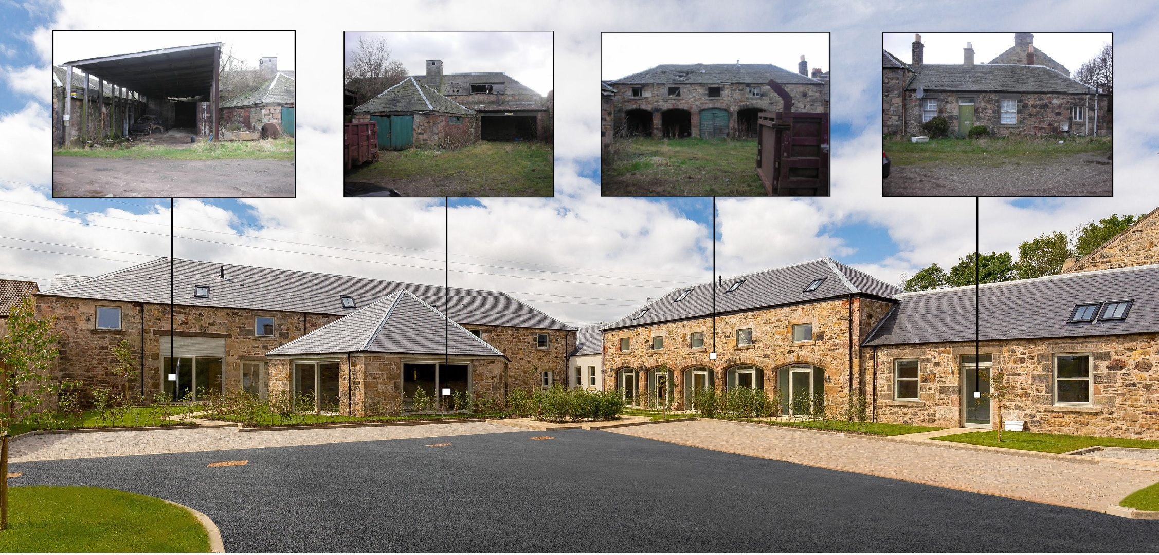 Views of Phase 2 Courtyard before refurbishment