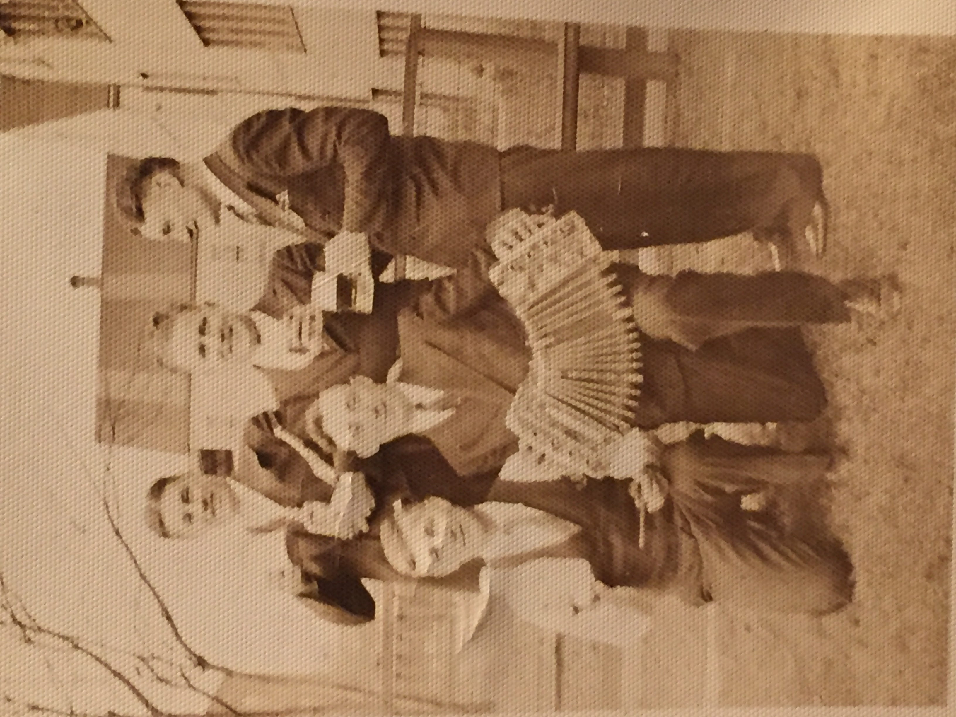 """Family, Chester Raclawski (concertina) on the left is Andrew Szramkowski my Great Grandpa and his sons Joe and Ben on far right. """"Gabby"""" in the middle friend of the family"""