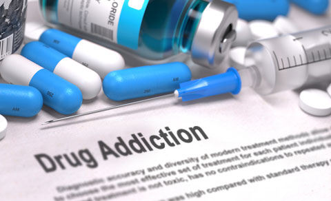 Drug addiction information & scattered pills