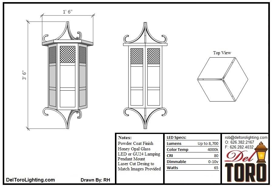 220P-Curled Column Pendant