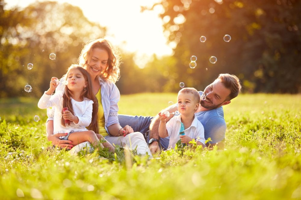 Happy family enjoying the nature