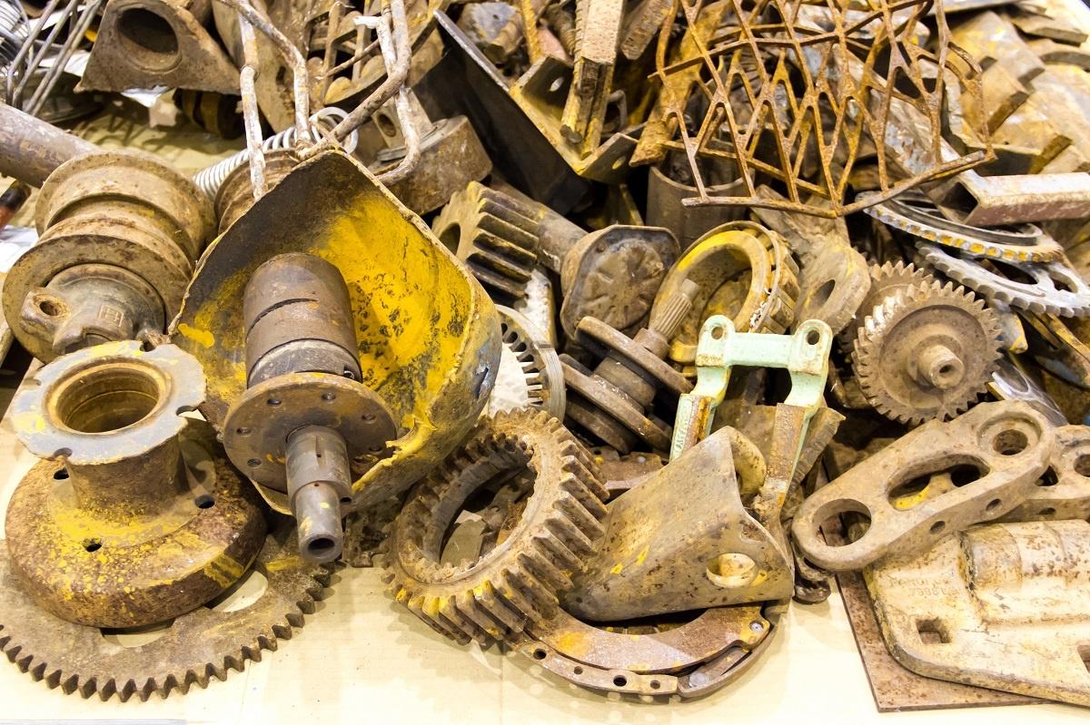 Scrap pile of car parts