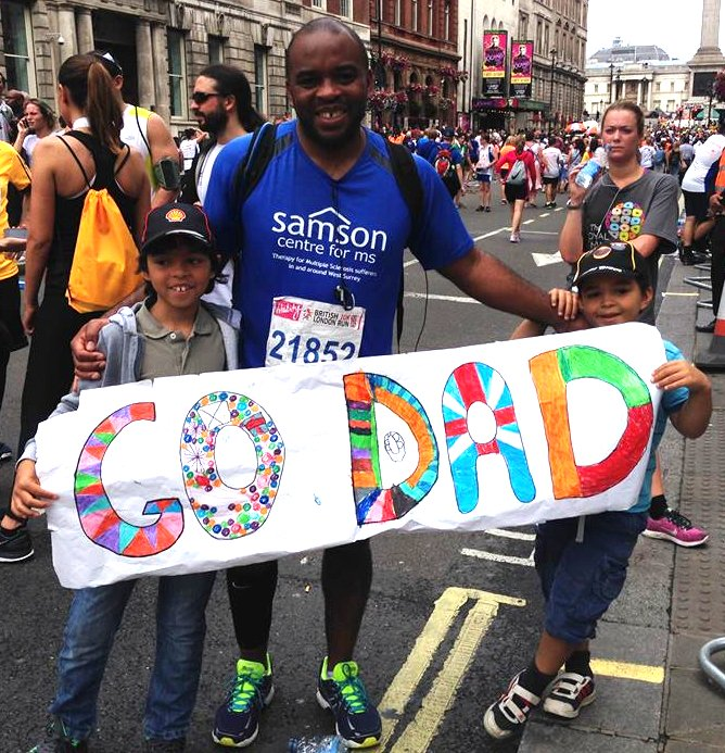 Elroy with proud sons after London 10K