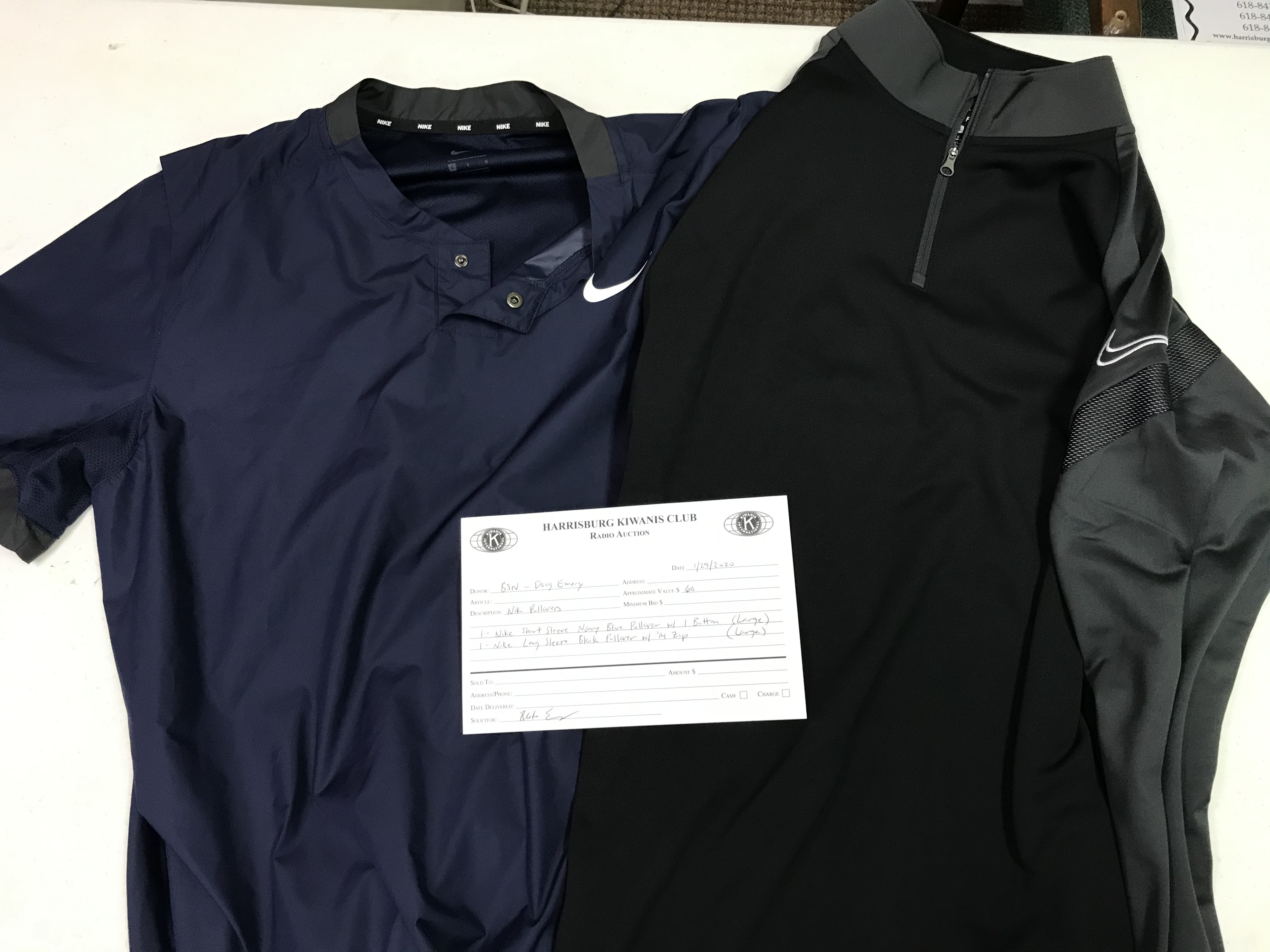 Item 328 - BSN - Doug Emery Nike Pullover Large Navy Blue Short Sleeve 1 Button, Nike Pullover Large Black Long Sleeve with 1/4 Zip