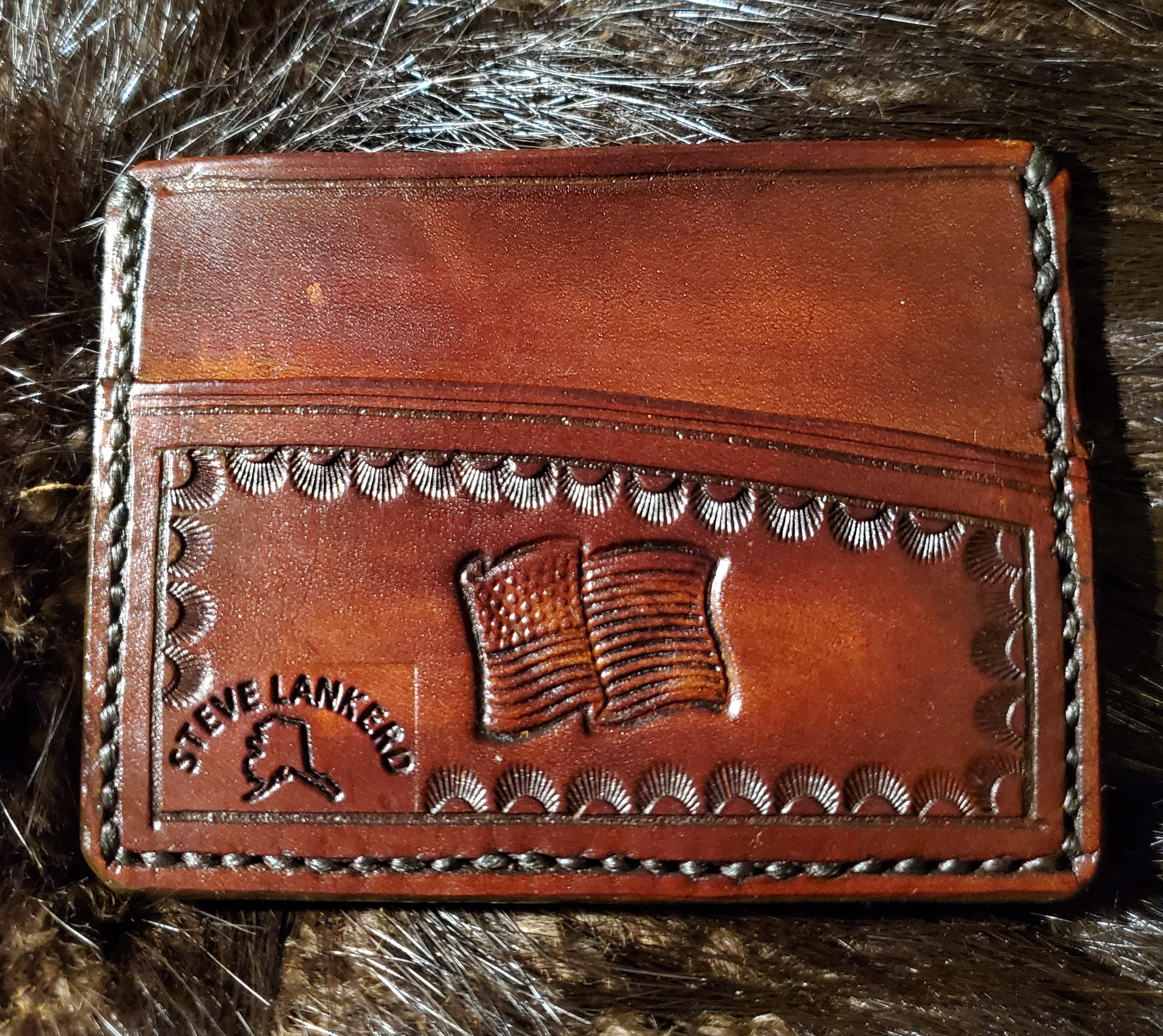 (Back)  American Flag, 3 pocket Minimalist Wallet,  hand tooled, hand stitched,  $65.00