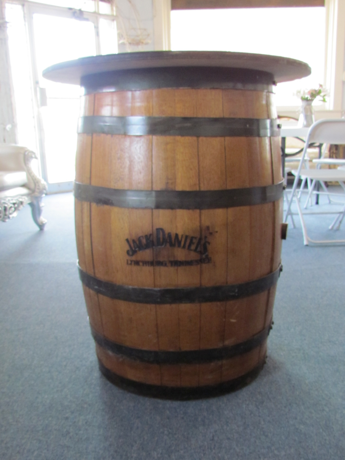 Whiskey Barrel Cocktail Table $30 / Day