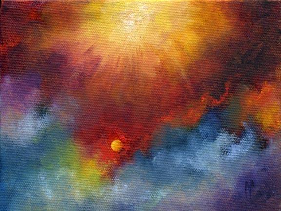 """Sun Burst 5""""x7""""  Oil on Canvas"""