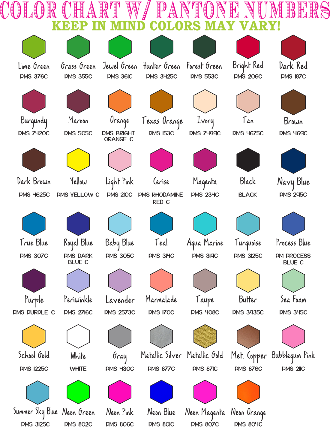 Color Chart with Pantone Numbers