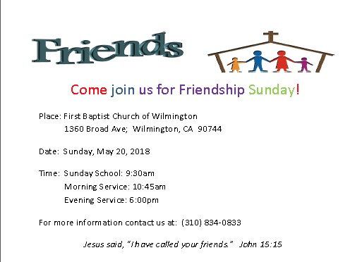 Friendship Sunday Invitation
