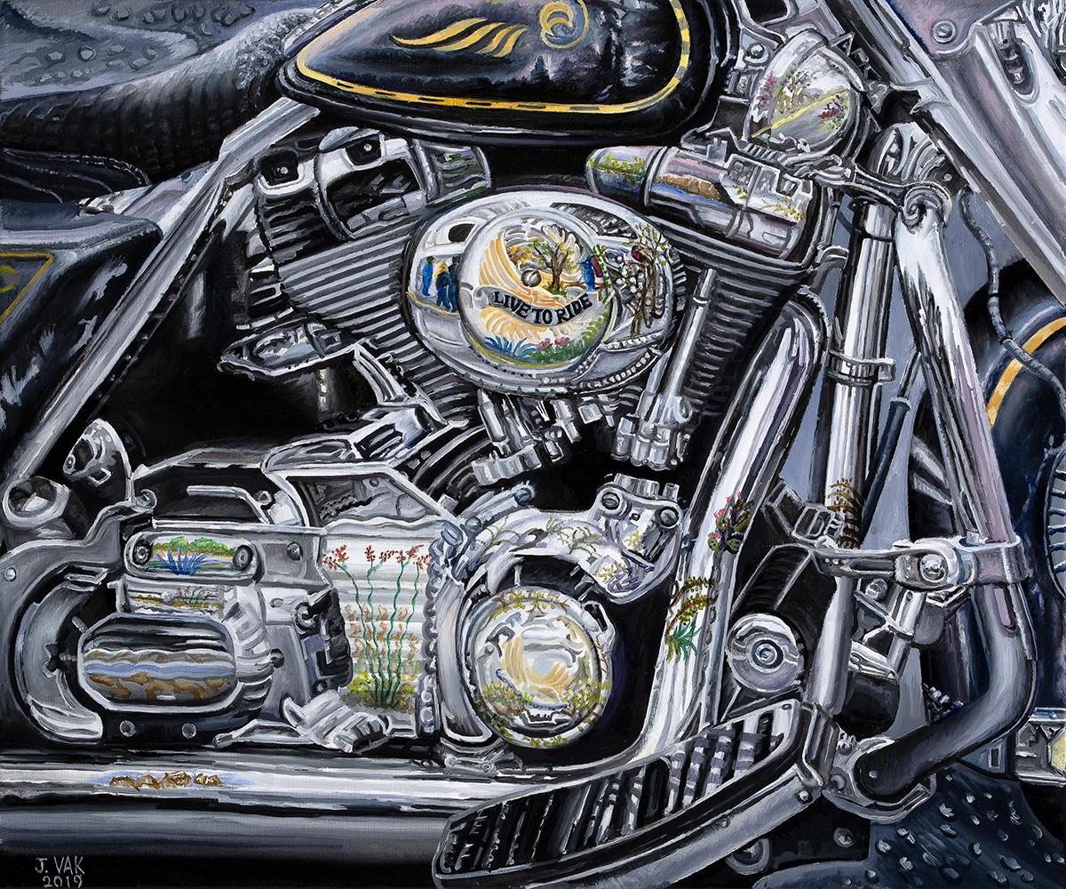 Harley Davidson Reflections      20 X 24 Original Oil              $2500               2019