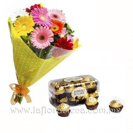 MD - 135  $790 Bouquet de 12 gerberas y chocolates ferrero rocher 16pz