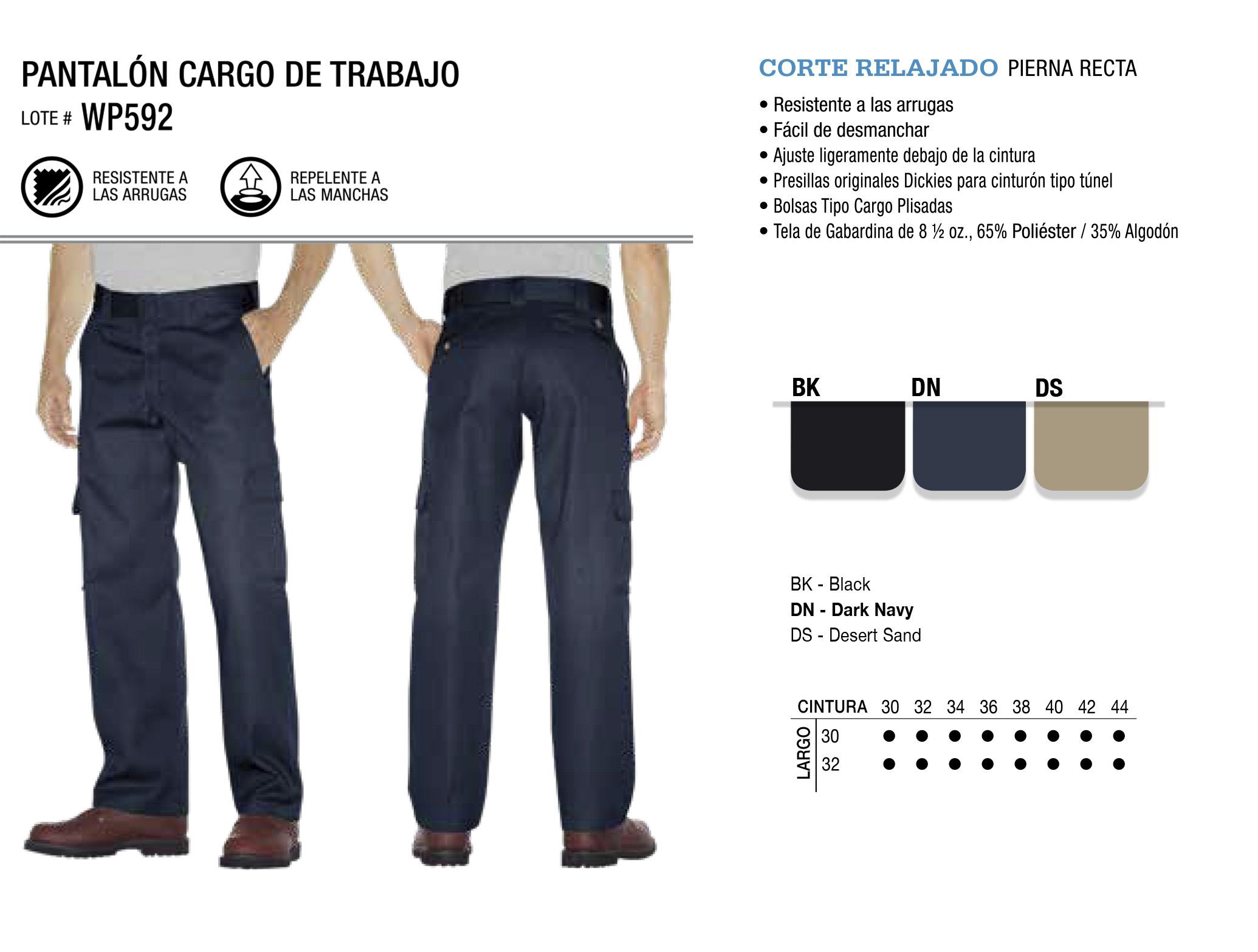 Pantalón Cargo de Trabajo. Corte Relajado. WP592,