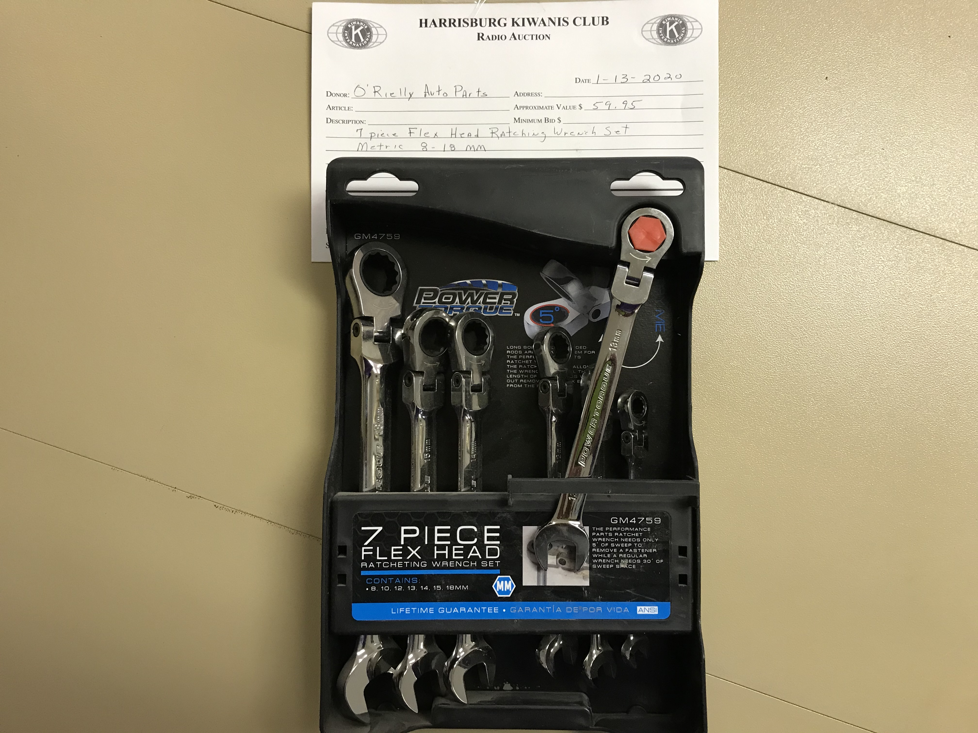 Item 433 - O'Reilly Auto Parts 7 Pc Flex Head Ratcheting Wrench Set (Metric)