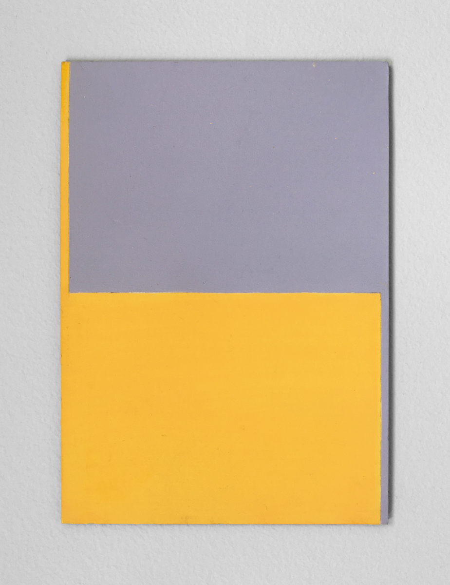 A small minimalist hard-edge geometric painting of yellow and grey rectangles.