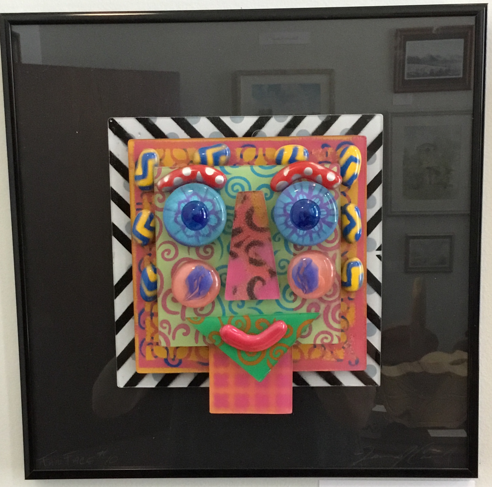 "Face Glass Construction 12""x12"" $100."