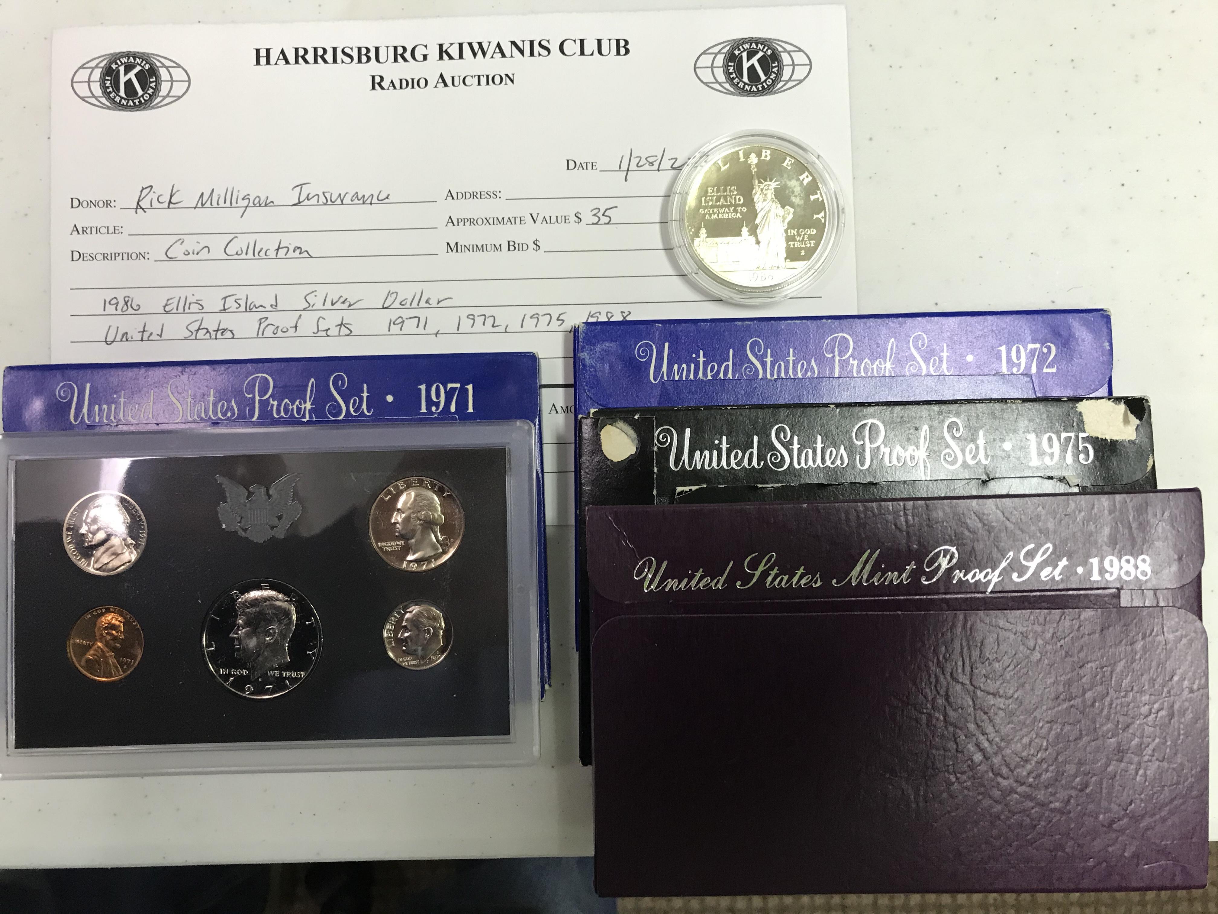 Item 128 - Rick Milligan Insurance 1986 Ellis Island Silver Dollar & US Mint Proof Sets 1971, 1972, 1975, 1988