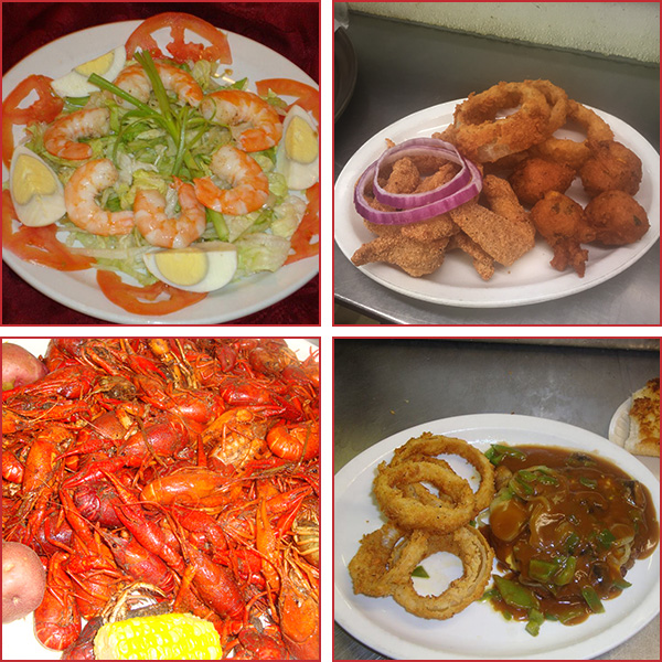 Collage of Shrimp Salad, Catfish With Onion Rings, Plate Filled With Red Crawfish, Steak With Onion Rings