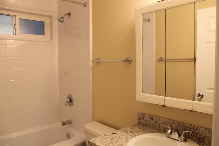 The full bathroom (and half bathroom) both have new, granite countertops.