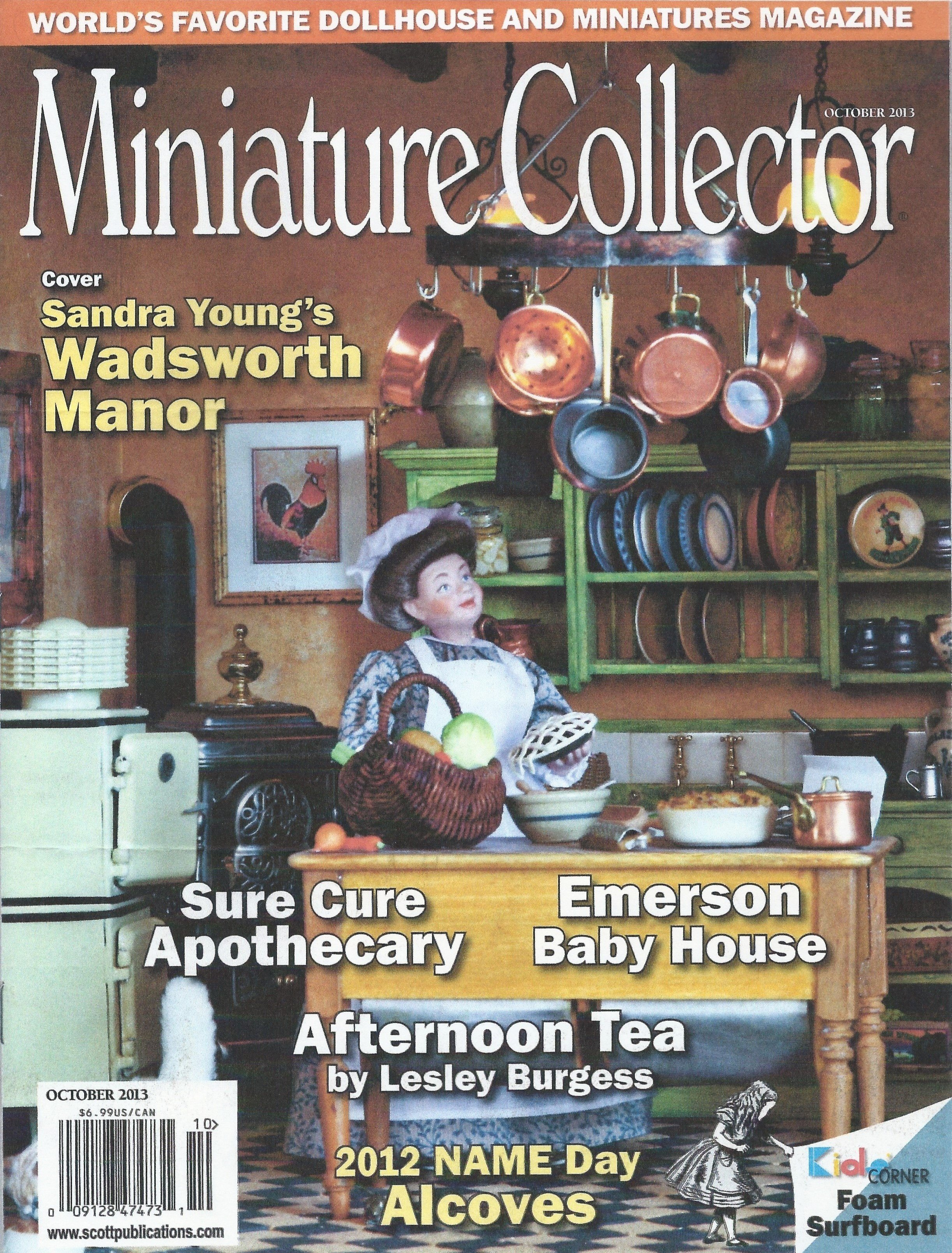 October 2013 Miniature Collector Magazine featuring Sandra Young's Wadsworth Manor