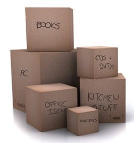 labeled boxes for moving