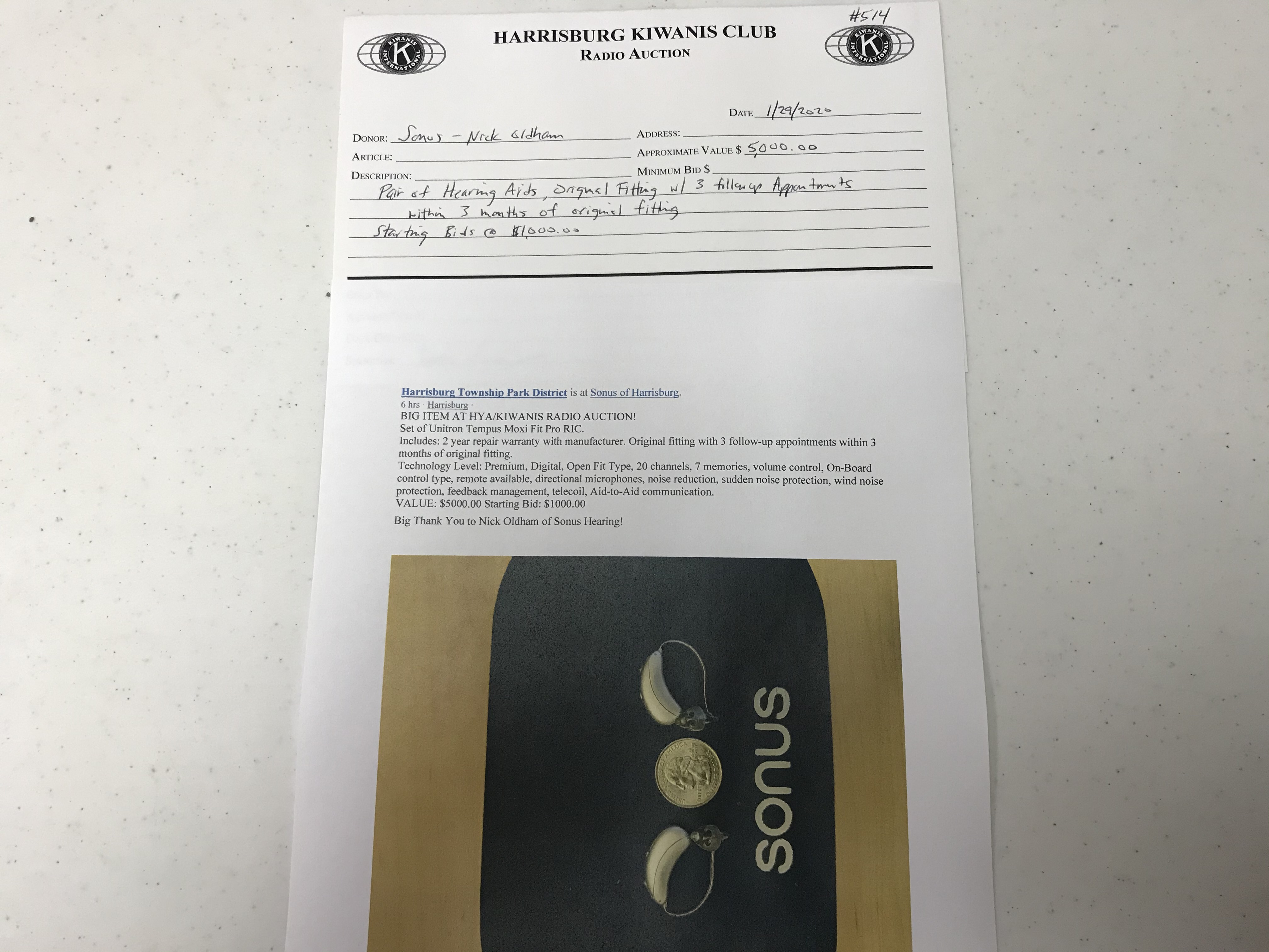 Item 514 - Sonus Pair of Hearing Aids and Fitting Appointments (Starting Bid @ $1,000)