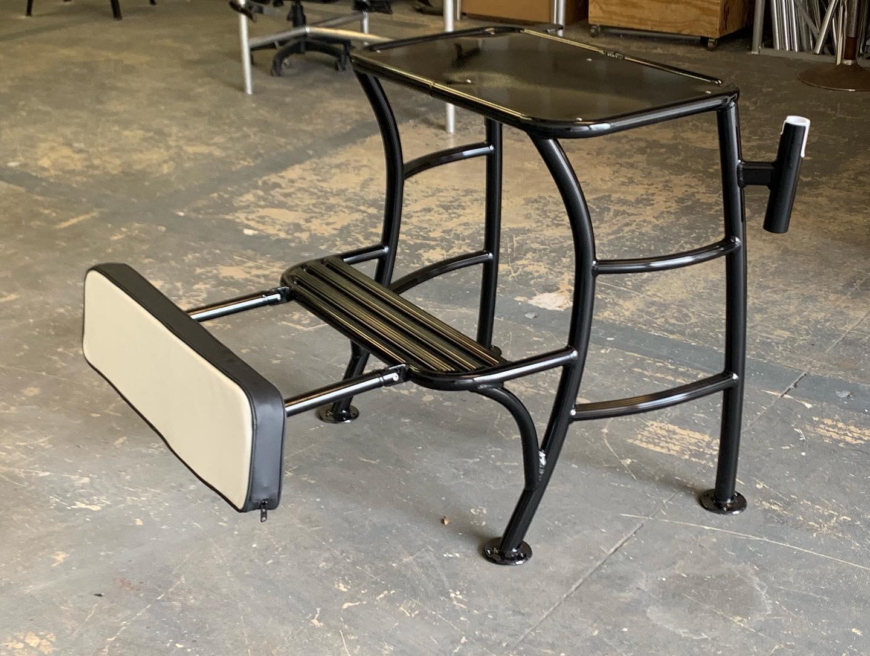 Custom Platform with Folding Backrest, Upholstery & Black Powder Coating