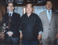March 1990. Power sensei's introduction to Nakamura Taizaburo (center) by Hirota Ietada sensei, judo 8th dan (on the right) at Nakamura sensei's home.