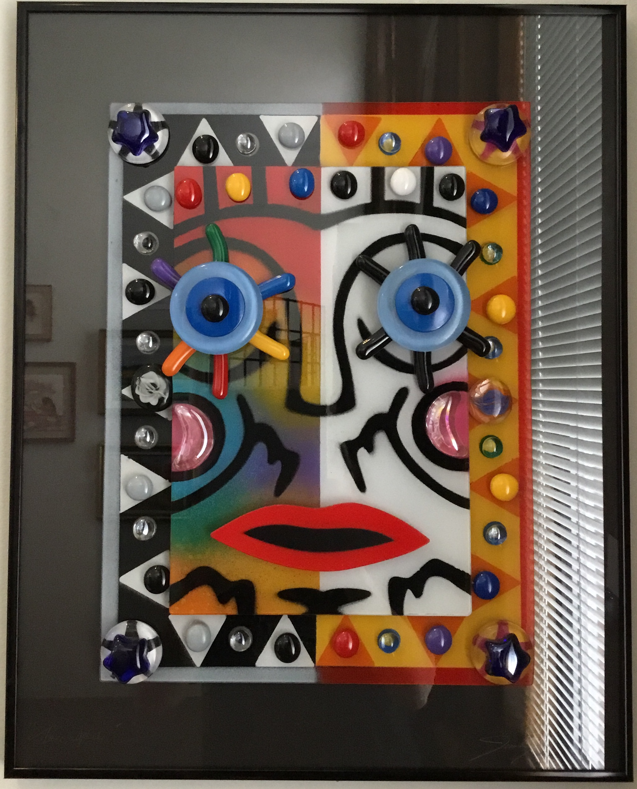 "Split Color Face  Glass Construction 16""x20"" $200."