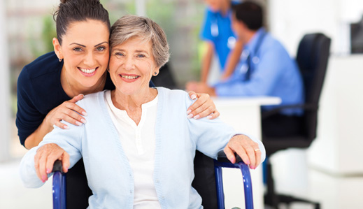 Happy Senior Woman with Caregiver||||
