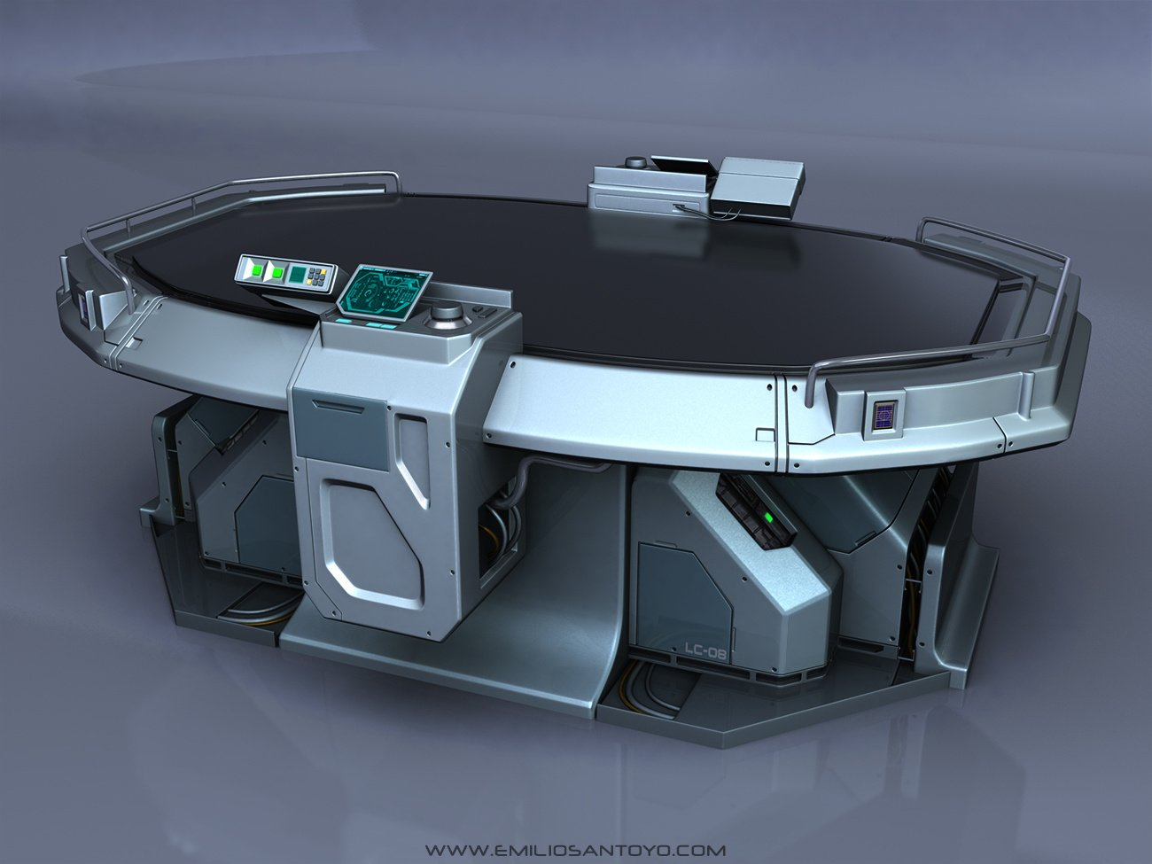 Sci-Fi Table. Software used 3ds Max, and PhotoShop.