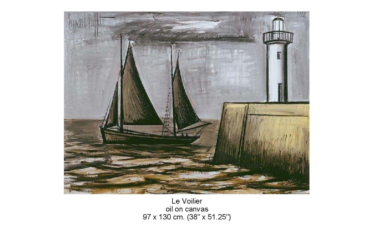 Painting of a sail boat and lighthouse. - Le Voilier