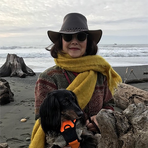 Diveena Marcus at Crescent City Coastal front with Auggie