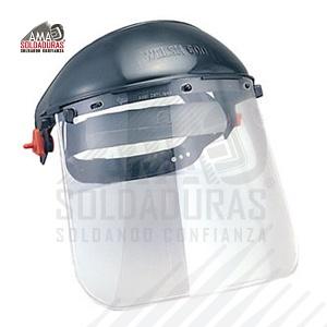 """PORTECTOR FACIAL AJUSTE DE INTERVALOS 3-PF-300-T Descripción: Diseñado para proteger cara, ojos y cuello. Capacidad de abatimiento de 90°. Mica de policarbonato. Visor estándar 12"""" x 8"""". Útil para trabajos en los que se requiera protección de toda la cara, donde se maneja temperatura, protección contra chispas y salpicaduras. Suspensión con ajuste de intervalos. Norma: ANSI/ISEA Z87.1-2010 , NMX-S-056-SCFI-2007, NRF-088 PEMEX- 2005."""