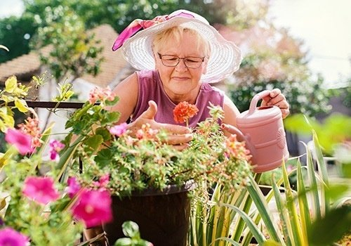 Senior Woman Working In Her Garden