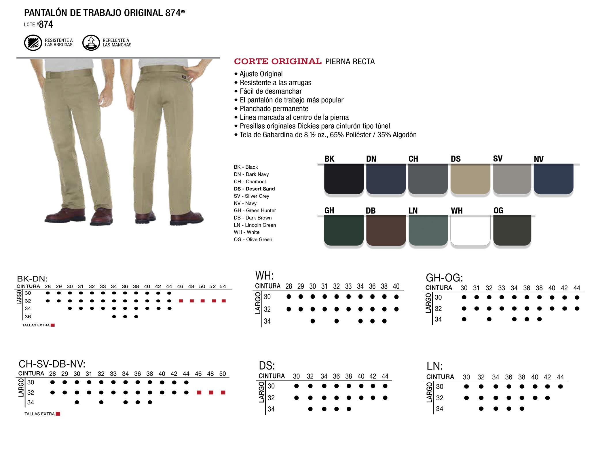Pantalón de Trabajo Original 874. Corte Original. 874.
