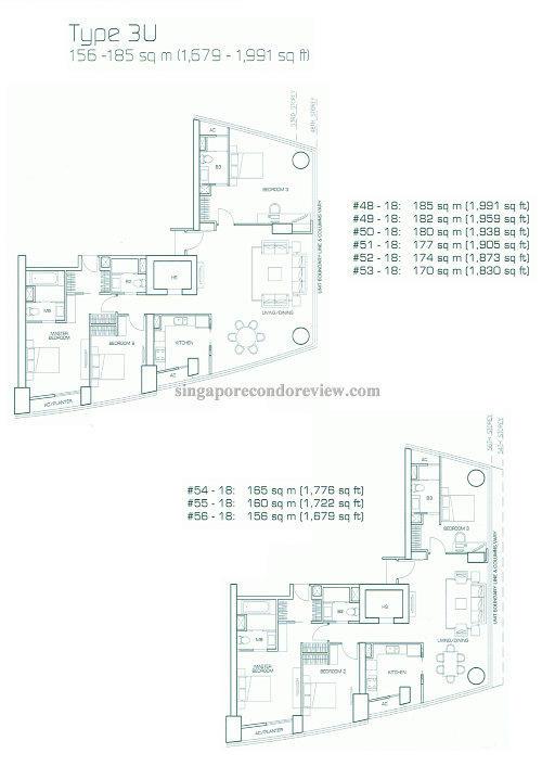 floor plan for stack 18, floors 48-56 1,679-1,991 sq ft