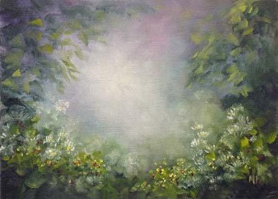 "Misty Garden 5""x7"" Oil on Canvas Board   SOLD"