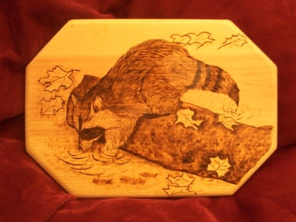Raccoon Fishing Woodburning - this design is completed entirely with woodburning techniques