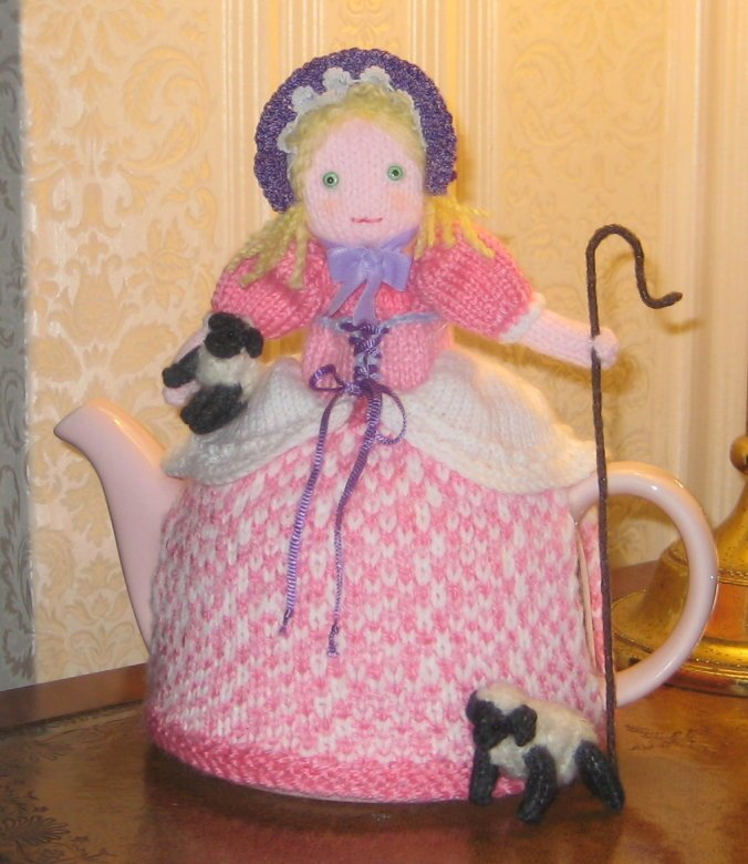 HAND KNITTED LITTLE BO PEEP TEACOSY MY OWN DESIGN
