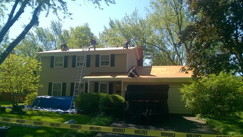 Naperville roof during tear off
