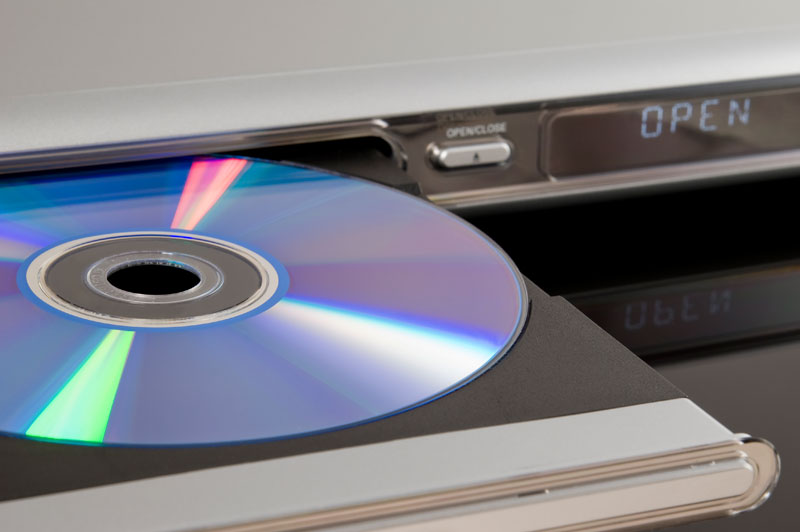 DVD disc inserted in DVD player