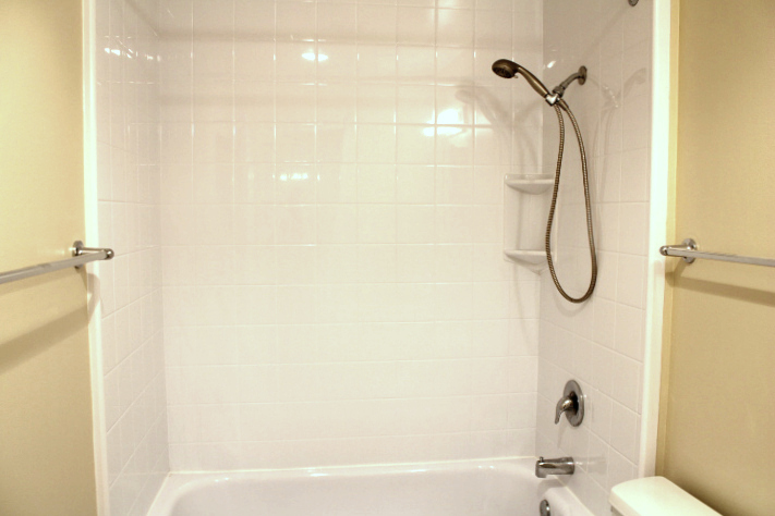 The shower has a Bath Fitter liner (less grout to clean).